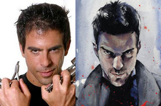 Eli Roth and a painting of Zachary Quinto