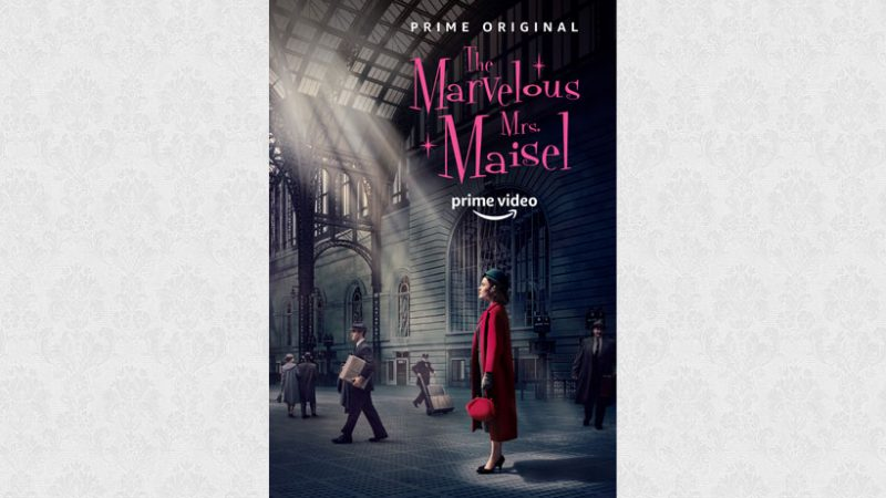 The Marvellous Mrs Maisel in a red dress in a big building