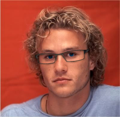 Young Heath Ledger in glasses